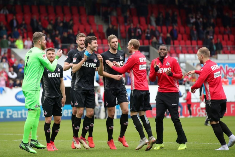 HEIDENHEIM, GERMANY - APRIL 07: Players of FC Koeln celebrates following their side's victory in the Second Bundesliga match between 1. FC Heidenheim 1846 and 1. FC Koeln at Voith-Arena on April 07, 2019 in Heidenheim, Germany. (Photo by Alexander Hassenstein/Bongarts/Getty Images)