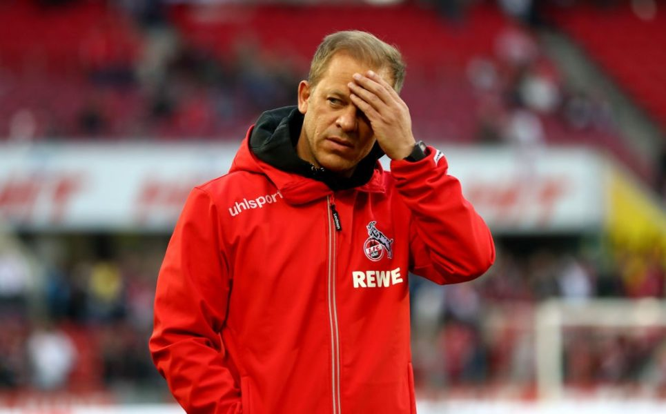 COLOGNE, GERMANY - APRIL 15: Markus Anfang, head coach of Koeln reacts prior tothe Second Bundesliga match between 1. FC Koeln and Hamburger SV at RheinEnergieStadion on April 15, 2019 in Cologne, Germany. (Photo by Lars Baron/Bongarts/Getty Images)