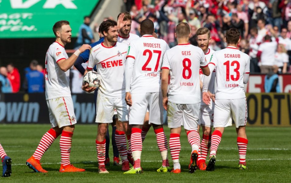 COLOGNE, GERMANY - MARCH 31: Players of Cologne celebrate after the Second Bundesliga match between 1. FC Koeln and Holstein Kiel at RheinEnergieStadion on March 31, 2019 in Cologne, Germany. (Photo by Juergen Schwarz/Bongarts/Getty Images)