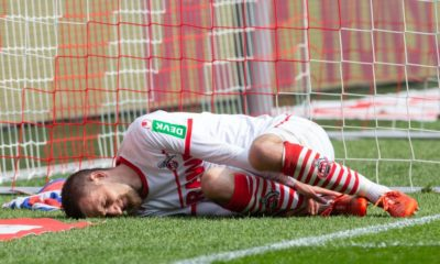COLOGNE, GERMANY - MARCH 31: Dominick Drexler of Cologne lies on the pitch during the Second Bundesliga match between 1. FC Koeln and Holstein Kiel at RheinEnergieStadion on March 31, 2019 in Cologne, Germany. (Photo by Juergen Schwarz/Bongarts/Getty Images)
