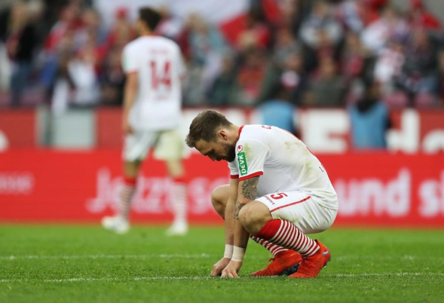 COLOGNE, GERMANY - APRIL 26: Rafael Czichos of FC Koln looks dejected in defeat after the Second Bundesliga match between 1. FC Koeln and SV Darmstadt 98 at RheinEnergieStadion on April 26, 2019 in Cologne, Germany. (Photo by Maja Hitij/Bongarts/Getty Images)