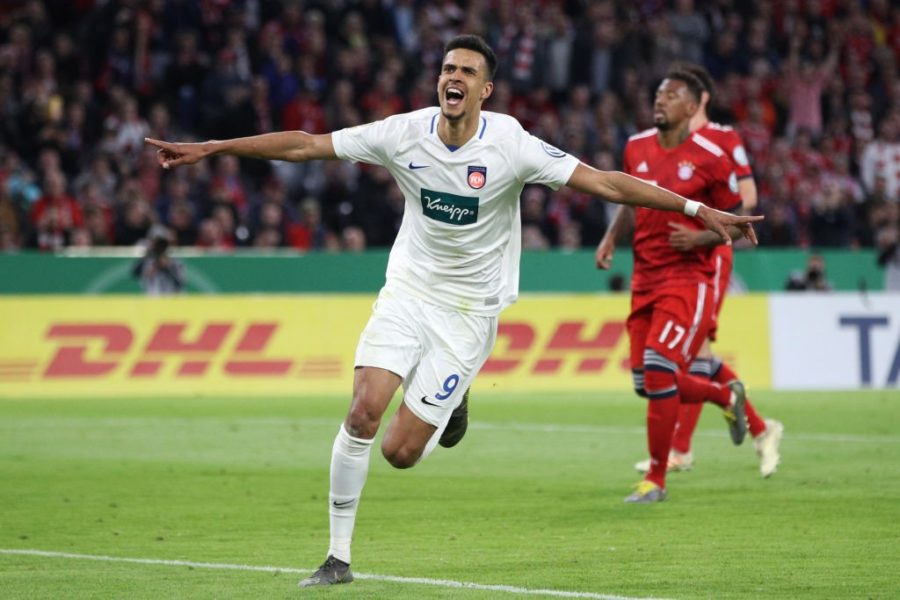 MUNICH, GERMANY - APRIL 03: Robert Glatzel of Heidenheim celebrates his team's fourth goal during the DFB Cup quarterfinal match between Bayern Muenchen and 1. FC Heidenheim at Allianz Arena on April 03, 2019 in Munich, Germany. (Photo by Adam Pretty/Bongarts/Getty Images)