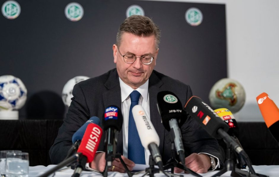 FRANKFURT AM MAIN, GERMANY - APRIL 02: Reinhard Grindel, President of the German Football Association (DFB), speaks to the media during a press conference at DFB Headquarter on April 02, 2019 in Frankfurt am Main, Germany. Grindel has stepped down, effective immediately. This was confirmed by the DFB today after German media reported on financial irregularities. The two vice presidents Rainer Koch and Reinhard Rauball will take over the leadership of the association on an interim basis until the DFB Bundestag in September. (Photo by Alexander Scheuber/Bongarts/Getty Images)