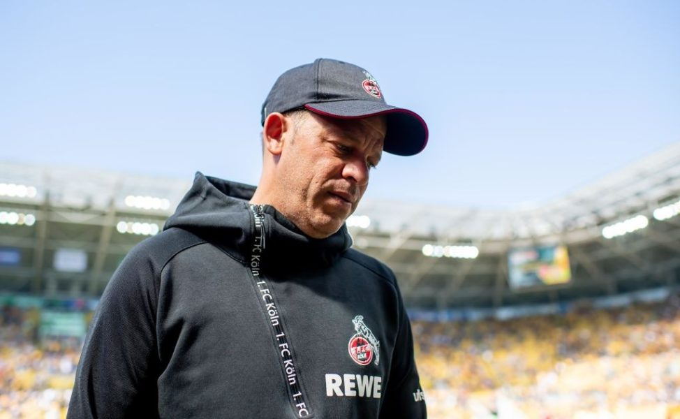 DRESDEN, GERMANY - APRIL 21: Headcoach Markus Anfang of Koeln reacts prior the Second Bundesliga match between SG Dynamo Dresden and 1. FC Koeln at Rudolf-Harbig-Stadion on April 21, 2019 in Dresden, Germany. (Photo by Thomas Eisenhuth/Bongarts/Getty Images)