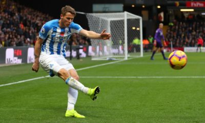 WATFORD, ENGLAND - OCTOBER 27: Eric Durm of Huddersfield Town during the Premier League match between Watford FC and Huddersfield Town at Vicarage Road on October 27, 2018 in Watford, United Kingdom. (Photo by Catherine Ivill/Getty Images)