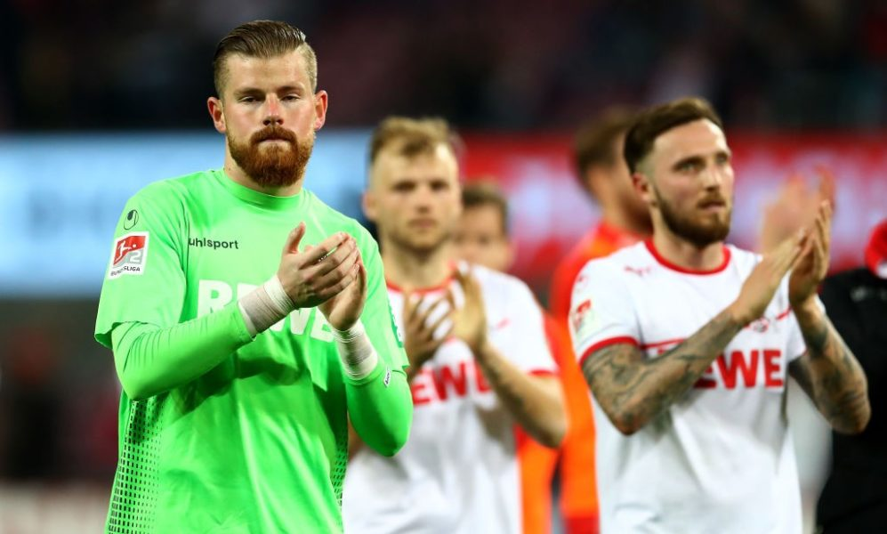 COLOGNE, GERMANY - APRIL 15: Timo Horn, goalkeeper of Koeln reacts after the Second Bundesliga match between 1. FC Koeln and Hamburger SV at RheinEnergieStadion on April 15, 2019 in Cologne, Germany. (Photo by Lars Baron/Bongarts/Getty Images)
