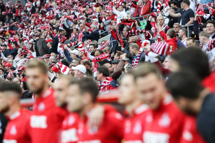 COLOGNE, GERMANY - APRIL 26: Fans of Koeln prior to the Second Bundesliga match between 1. FC Koeln and SV Darmstadt 98 at RheinEnergieStadion on April 26, 2019 in Cologne, Germany. (Photo by Maja Hitij/Bongarts/Getty Images)