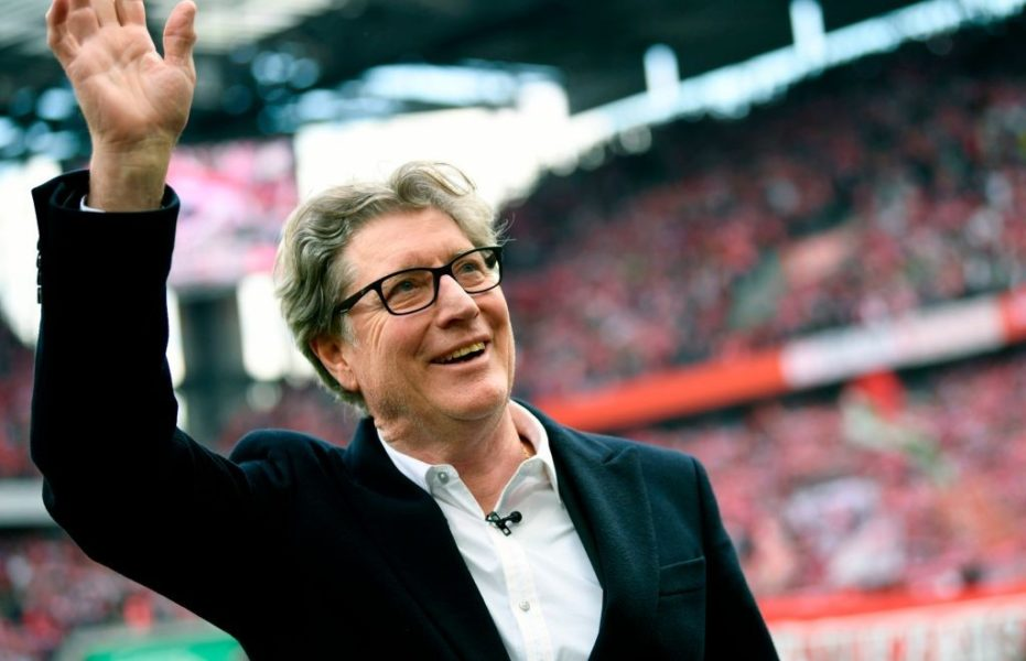 Cologne's vice-president Toni Schumacher waves during the German second division Bundesliga football match 1 FC Cologne v SSV Jahn Regensburg in Cologne, western Germany on May 12, 2019. (Photo by INA FASSBENDER / AFP) / RESTRICTIONS: DFL REGULATIONS PROHIBIT ANY USE OF PHOTOGRAPHS AS IMAGE SEQUENCES AND/OR QUASI-VIDEO (Photo credit should read INA FASSBENDER/AFP/Getty Images)