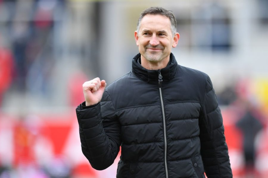 REGENSBURG, GERMANY - FEBRUARY 24: Head coach Achim Beierlorzer of Regensburg smiles prior to the Second Bundesliga match between SSV Jahn Regensburg and Hamburger SV at Continental Arena on February 24, 2019 in Regensburg, Germany. (Photo by Sebastian Widmann/Bongarts/Getty Images)