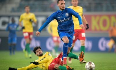 Oostende's Fernando Canesin and Gent's Birger Verstraete fight for the ball during a soccer game between KAA Gent and KV Oostende, Thursday 24 January 2019 in Gent, the first leg of the semi-finals of the 'Croky Cup' Belgian cup. BELGA PHOTO YORICK JANSENS (Photo credit should read YORICK JANSENS/AFP/Getty Images)