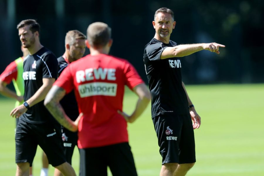 COLOGNE, GERMANY - JULY 04: Head coach Achim Beierlorzer issues instructions during the 1. FC Koeln training session at Geissbockheim on July 04, 2019 in Cologne, Germany. (Photo by Christof Koepsel/Getty Images)