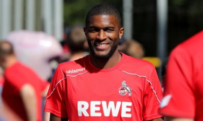 COLOGNE, GERMANY - JULY 04: Anthony Modeste walks to the 1. FC Koeln training session at Geissbockheim on July 04, 2019 in Cologne, Germany. (Photo by Christof Koepsel/Getty Images)