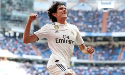 MADRID, SPAIN - MAY 05: Jesus Vallejo of Real Madrid celebrates as scores his team's second goal during the La Liga match between Real Madrid CF and Villarreal CF at Estadio Santiago Bernabeu on May 05, 2019 in Madrid, Spain. (Photo by Angel Martinez/Getty Images)