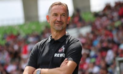 REUTLINGEN, GERMANY - JULY 14: Achim Beierlorzer Head coach of 1.FC Koeln looks on ahead of the pre-season friendly match between SSV Reutlingen v 1. FC Koeln at Stadion an der Kreuzeiche on July 14, 2019 in Reutlingen, Germany. (Photo by Christian Kaspar-Bartke/Bongarts/Getty Images)
