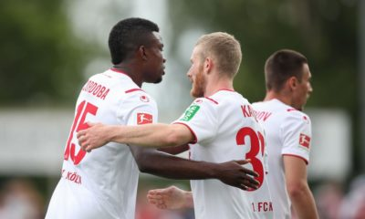 REUTLINGEN, GERMANY - JULY 14: Jhon Cordoba and Florian Kainz of 1.FC Koeln celebrate after scoring his team`s first goal during the pre-season friendly match between SSV Reutlingen v 1. FC Koeln at Stadion an der Kreuzeiche on July 14, 2019 in Reutlingen, Germany. (Photo by Christian Kaspar-Bartke/Bongarts/Getty Images)