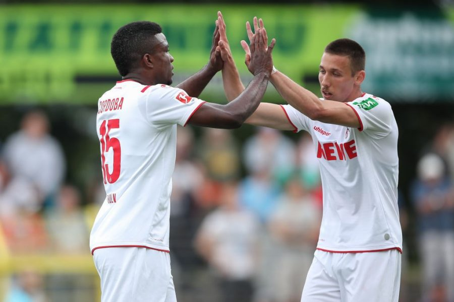 REUTLINGEN, GERMANY - JULY 14: Jhon Cordoba and Darko Churlinov of 1.FC Koeln celebrates after scoring his team`s first goal during the pre-season friendly match between SSV Reutlingen v 1. FC Koeln at Stadion an der Kreuzeiche on July 14, 2019 in Reutlingen, Germany. (Photo by Christian Kaspar-Bartke/Bongarts/Getty Images)