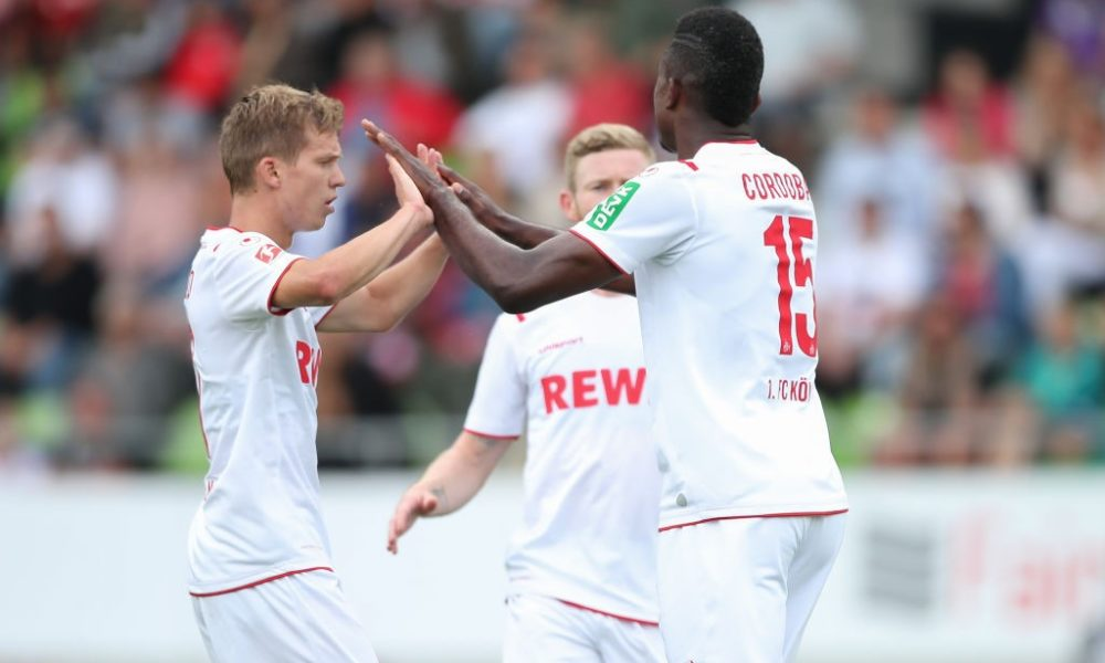 REUTLINGEN, GERMANY - JULY 14: Jhon Cordoba and Vincent Koziello of 1.FC Koeln celebrate after scoring his team`s second goal during the pre-season friendly match between SSV Reutlingen v 1. FC Koeln at Stadion an der Kreuzeiche on July 14, 2019 in Reutlingen, Germany. (Photo by Christian Kaspar-Bartke/Bongarts/Getty Images)