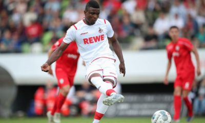 REUTLINGEN, GERMANY - JULY 14: Jhon Cordoba of 1.FC Koeln scores his team`s third goal during the pre-season friendly match between SSV Reutlingen v 1. FC Koeln at Stadion an der Kreuzeiche on July 14, 2019 in Reutlingen, Germany. (Photo by Christian Kaspar-Bartke/Bongarts/Getty Images)