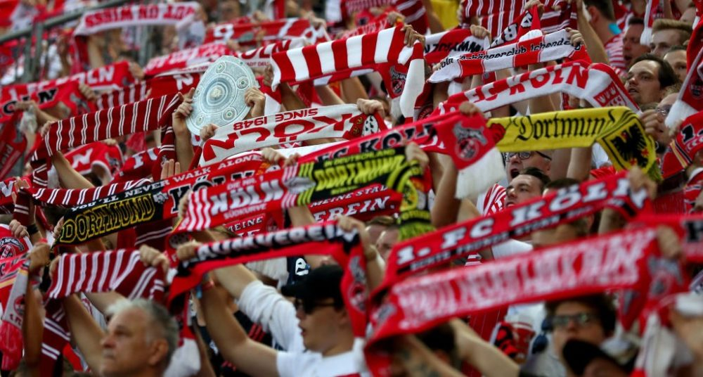 COLOGNE, GERMANY - AUGUST 23: Fans of Koeln are seen during the Bundesliga match between 1. FC Koeln and Borussia Dortmund at RheinEnergieStadion on August 23, 2019 in Cologne, Germany. (Photo by Lars Baron/Bongarts/Getty Images)