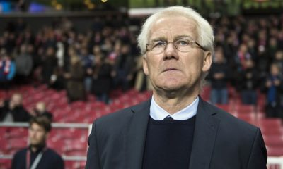 Denmark's head coach Morten Olsen sings the national anthem during the friendly international football match between Denmark and the hosts of the Euro 2016 France in Copenhagen on October 11, 2015. AFP PHOTO / ODD ANDERSEN (Photo credit should read ODD ANDERSEN/AFP/Getty Images)