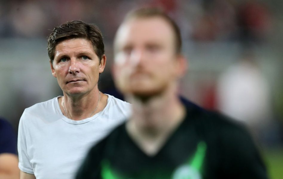 HALLE, GERMANY - AUGUST 12: Head coach Oliver Glasner of Wolfsburg looks on after the DFB Cup first round match between Hallescher FC and VfL Wolfsburg at Erdgas-Sportpark on August 12, 2019 in Halle, Germany. (Photo by Ronny Hartmann/Bongarts/Getty Images)