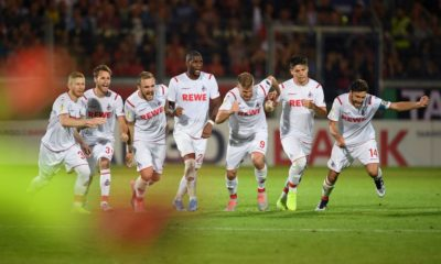 WIESBADEN, GERMANY - AUGUST 11: The players of Koeln celebrate after winning the penalty shoot-out during the DFB Cup first round match between SV Wehen Wiesbaden and 1. FC Koeln at BRITA-Arena on August 11, 2019 in Wiesbaden, Germany. (Photo by Matthias Hangst/Bongarts/Getty Images)