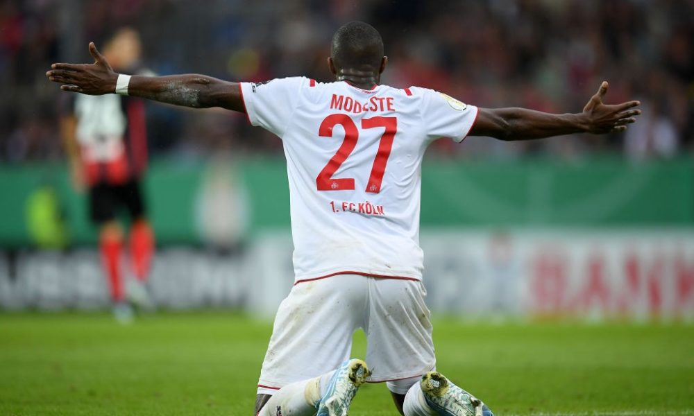 WIESBADEN, GERMANY - AUGUST 11: Anthony Modeste of 1. FC Koeln reacts during the DFB Cup first round match between SV Wehen Wiesbaden and 1. FC Koeln at BRITA-Arena on August 11, 2019 in Wiesbaden, Germany. (Photo by Matthias Hangst/Bongarts/Getty Images)