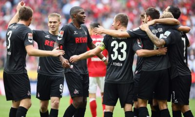MUNICH, GERMANY - OCTOBER 01: Anthony Modeste (3L) of Koeln and team mates celebrate after the Bundesliga match between Bayern Muenchen and 1. FC Koeln at Allianz Arena on October 1, 2016 in Munich, Germany. (Photo by Alex Grimm/Bongarts/Getty Images)