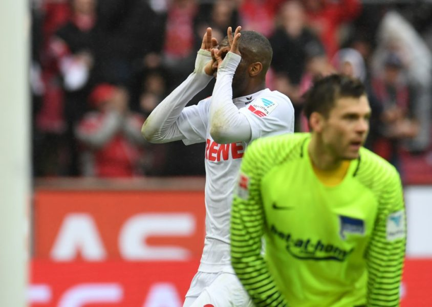 Cologne's French striker Anthony Modeste (L) celebarte after a goal during the German First division Bundesliga football match of FC Cologne vs Hertha Berlin in Cologne, on March 18, 2017. / AFP PHOTO / PATRIK STOLLARZ / RESTRICTIONS: DURING MATCH TIME: DFL RULES TO LIMIT THE ONLINE USAGE TO 15 PICTURES PER MATCH AND FORBID IMAGE SEQUENCES TO SIMULATE VIDEO. == RESTRICTED TO EDITORIAL USE == FOR FURTHER QUERIES PLEASE CONTACT DFL DIRECTLY AT + 49 69 650050 (Photo credit should read PATRIK STOLLARZ/AFP/Getty Images)
