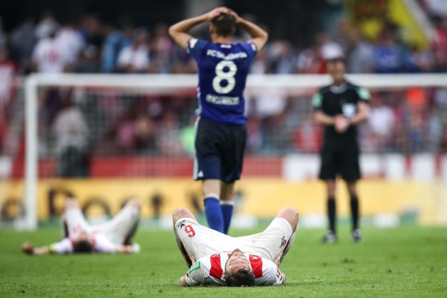 COLOGNE, GERMANY - APRIL 22: Marco Hoger #6 of 1.FC Koeln reacts after the Bundesliga match between 1. FC Koeln and FC Schalke 04 at RheinEnergieStadion on April 22, 2018 in Cologne, Germany. (Photo by Maja Hitij/Bongarts/Getty Images)