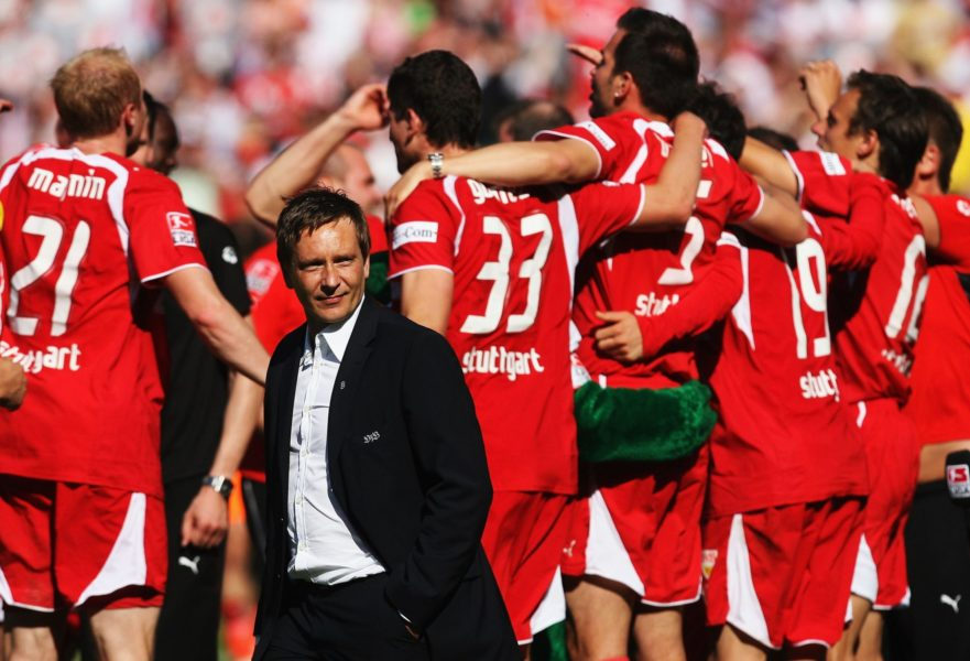 STUTTGART, GERMANY - MAY 19: Manager Horst Heldt of Stuttgart looks on after winning the german championship after the Bundesliga match between VFB Stuttgart and Energie Cottbus at the Gottlieb Daimler stadium on May 19, 2007 in Stuttgart, Germany. (Photo by Lars Baron/Bongarts/Getty Images)