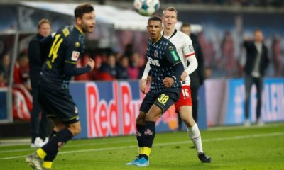 Cologne's defender Ismail Jakobs (C) and Leipzig's German defender Lukas Klostermann (R) vie for the ball during the German first division Bundesliga football match RB Leipzig v FC Cologne in Leipzig, eastern Germany, on November 23, 2019. (Photo by Odd Andersen / AFP) / RESTRICTIONS: DFL REGULATIONS PROHIBIT ANY USE OF PHOTOGRAPHS AS IMAGE SEQUENCES AND/OR QUASI-VIDEO (Photo by ODD ANDERSEN/AFP via Getty Images)