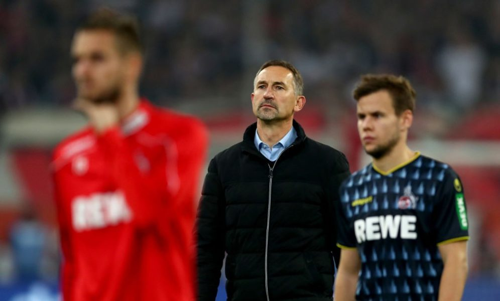 DUESSELDORF, GERMANY - NOVEMBER 03: Head coach Achim Beierlorzer of Koeln looks dejected after loosing the Bundesliga match between Fortuna Duesseldorf and 1. FC Koeln at Merkur Spiel-Arena on November 03, 2019 in Duesseldorf, Germany. (Photo by Lars Baron/Bongarts/Getty Images)