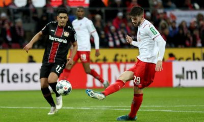 COLOGNE, GERMANY - DECEMBER 14: Jan Thielmann of Koeln shoots on goal during the Bundesliga match between 1. FC Koeln and Bayer 04 Leverkusen at RheinEnergieStadion on December 14, 2019 in Cologne, Germany. (Photo by Lars Baron/Bongarts/Getty Images)