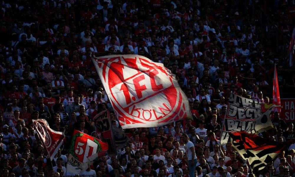 COLOGNE, GERMANY - SEPTEMBER 14: Cologne fans show their support during the Bundesliga match between 1. FC Koeln and Borussia Moenchengladbach at RheinEnergieStadion on September 14, 2019 in Cologne, Germany. (Photo by Jörg Schüler/Bongarts/Getty Images)