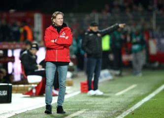 BERLIN, GERMANY - DECEMBER 08: Markus Gisdol, Head Coach of 1. FC Koeln looks on during the Bundesliga match between 1. FC Union Berlin and 1. FC Koeln at Stadion An der Alten Foersterei on December 08, 2019 in Berlin, Germany. (Photo by Maja Hitij/Bongarts/Getty Images)