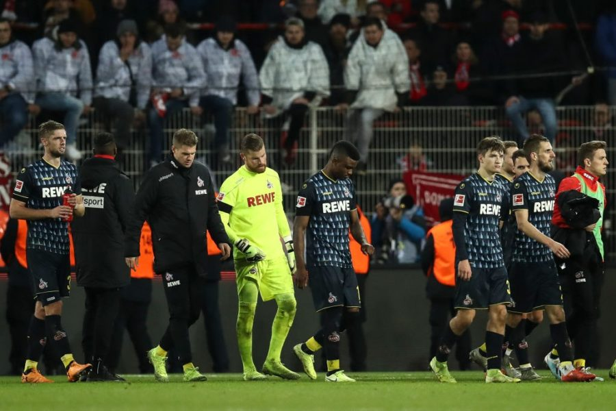 BERLIN, GERMANY - DECEMBER 08: Players of Koeln react after the Bundesliga match between 1. FC Union Berlin and 1. FC Koeln at Stadion An der Alten Foersterei on December 08, 2019 in Berlin, Germany. (Photo by Maja Hitij/Bongarts/Getty Images)