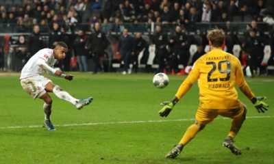 FRANKFURT AM MAIN, GERMANY - DECEMBER 18: Ismael Jakobs of 1. FC Koeln scores his team's fourth goal during the Bundesliga match between Eintracht Frankfurt and 1. FC Koeln at Commerzbank-Arena on December 18, 2019 in Frankfurt am Main, Germany. (Photo by Alexander Hassenstein/Bongarts/Getty Images)