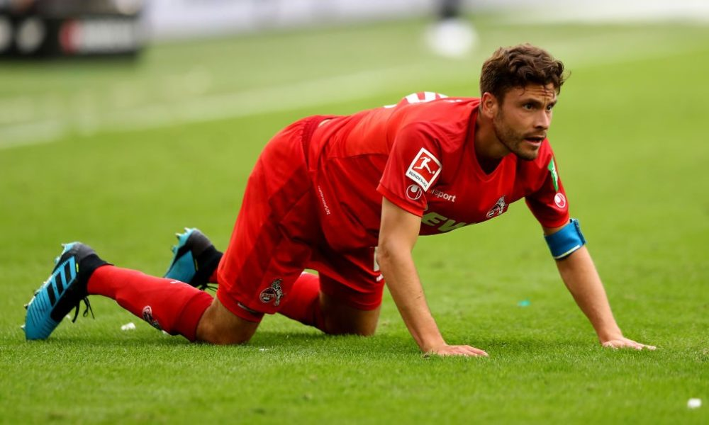 WOLFSBURG, GERMANY - AUGUST 17: Jonas Hector of Koeln reacts during the Bundesliga match between VfL Wolfsburg and 1. FC Koeln at Volkswagen Arena on August 17, 2019 in Wolfsburg, Germany. (Photo by Martin Rose/Bongarts/Getty Images)