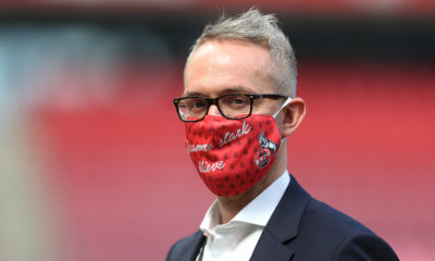 COLOGNE, GERMANY - MAY 17: 1. FC Koeln CEO, Alexander Wehrle wearing a face mask seen prior to the Bundesliga match between 1. FC Koeln and 1. FSV Mainz 05 at RheinEnergieStadion on May 17, 2020 in Cologne, Germany. The Bundesliga and Second Bundesliga is the first professional league to resume the season after the nationwide lockdown due to the ongoing Coronavirus (COVID-19) pandemic. All matches until the end of the season will be played behind closed doors. (Photo by Lars Baron/Getty Images)