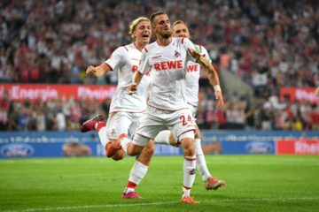COLOGNE, GERMANY - AUGUST 23: Dominick Drexler of 1. FC Koeln celebrates scoring his side's first goal during the Bundesliga match between 1. FC Koeln and Borussia Dortmund at RheinEnergieStadion on August 23, 2019 in Cologne, Germany. (Photo by Matthias Hangst/Bongarts/Getty Images)