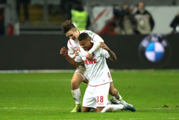 FRANKFURT AM MAIN, GERMANY - DECEMBER 18: Ismael Jakobs of 1. FC Koeln celebrates victory with Noah Katterbach after the Bundesliga match between Eintracht Frankfurt and 1. FC Koeln at Commerzbank-Arena on December 18, 2019 in Frankfurt am Main, Germany. (Photo by Alexander Hassenstein/Bongarts/Getty Images)