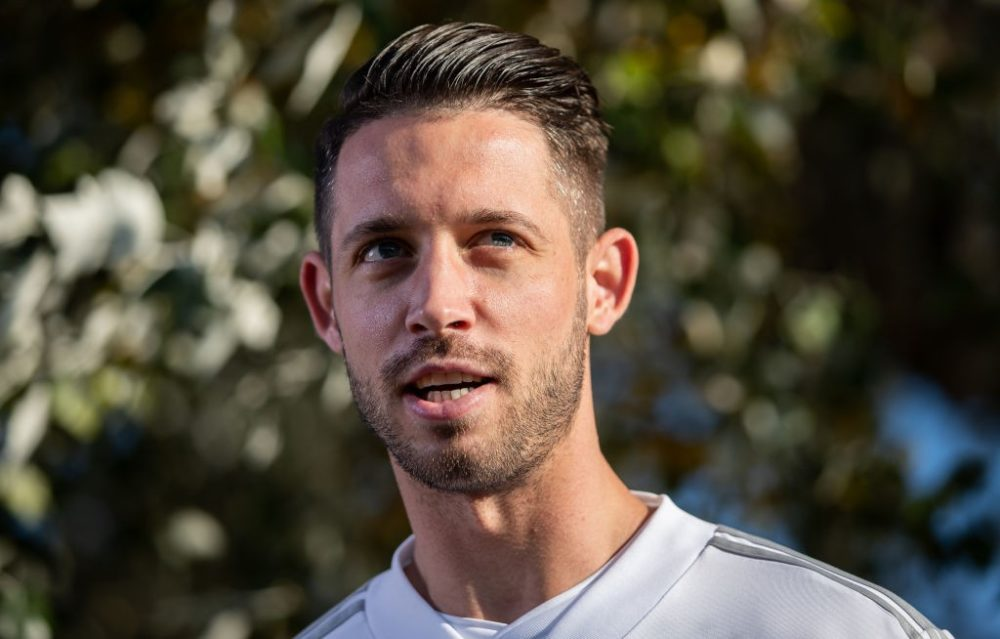 BERLIN, GERMANY - OCTOBER 11: Mark Uth of Germany looks on prior to a training session of the German national team at Stadion auf dem Wurfplatz on October 11, 2018 in Berlin, Germany. (Photo by Boris Streubel/Bongarts/Getty Images)