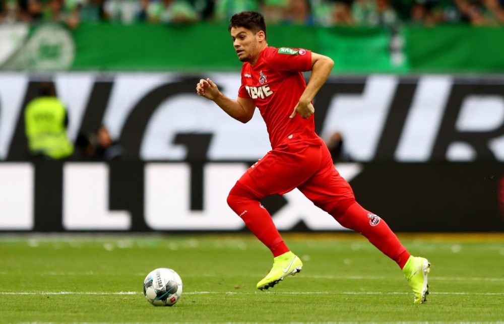 WOLFSBURG, GERMANY - AUGUST 17: Jorge Mere of Koeln runs with the ball during the Bundesliga match between VfL Wolfsburg and 1. FC Koeln at Volkswagen Arena on August 17, 2019 in Wolfsburg, Germany. (Photo by Martin Rose/Bongarts/Getty Images)