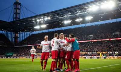 COLOGNE, GERMANY - FEBRUARY 02: Ismail Jakobs of FC Koln celebrates with his teammates after scoring his sides fourth goal during the Bundesliga match between 1. FC Koeln and Sport-Club Freiburg at RheinEnergieStadion on February 02, 2020 in Cologne, Germany. (Photo by Lars Baron/Bongarts/Getty Images)