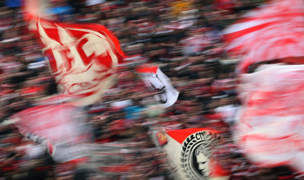 COLOGNE, GERMANY - DECEMBER 14: Fans of Koeln are seen during the Bundesliga match between 1. FC Koeln and Bayer 04 Leverkusen at RheinEnergieStadion on December 14, 2019 in Cologne, Germany. (Photo by Lars Baron/Bongarts/Getty Images)