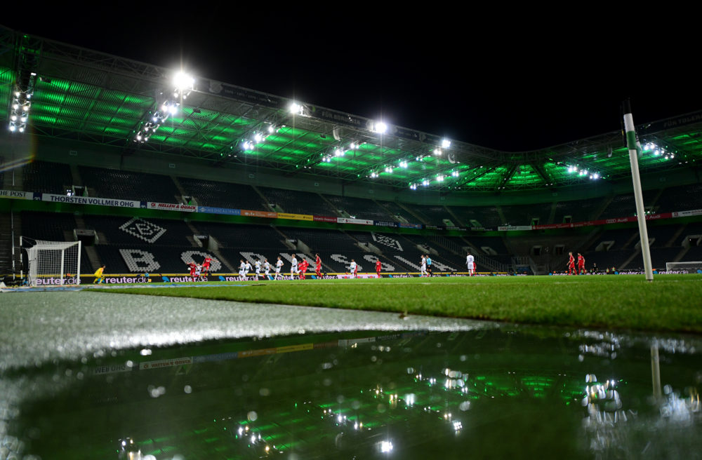MOENCHENGLADBACH, GERMANY - MARCH 11: General view inside the empty stadium during the Bundesliga match between Borussia Moenchengladbach and 1. FC Koeln at Borussia-Park on March 11, 2020 in Moenchengladbach, Germany. For the first time in the history of the German Bundesliga the match is played behind closed doors as a precaution against the spread of COVID-19 (Coronavirus). (Photo by Jörg Schüler/Bongarts/Getty Images)