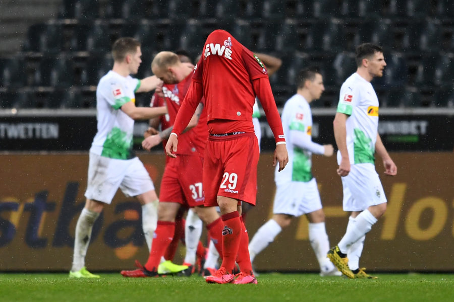 MOENCHENGLADBACH, GERMANY - MARCH 11: Jan Thielmann of 1. FC Koeln reacts to defeat after the Bundesliga match between Borussia Moenchengladbach and 1. FC Koeln at Borussia-Park on March 11, 2020 in Moenchengladbach, Germany. For the first time in the history of the German Bundesliga the match is played behind closed doors as a precaution against the spread of COVID-19 (Coronavirus). (Photo by Jörg Schüler/Bongarts/Getty Images)