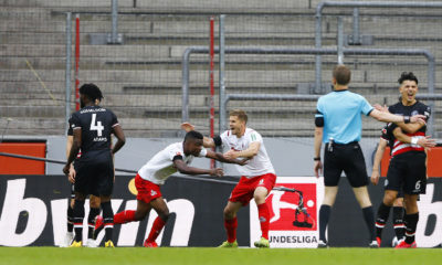 COLOGNE, GERMANY - MAY 24: FC Cologne's Jhon Cordoba celebrates after he scores his teams second goal during the Bundesliga match between 1. FC Koeln and Fortuna Duesseldorf at RheinEnergieStadion on May 24, 2020 in Cologne, Germany. (Photo by Pool/Thilo Schmuelgen/Pool via Getty Images)