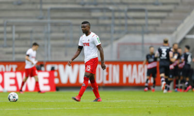 COLOGNE, GERMANY - MAY 24: Jhon Cordoba of FC Cologne reacts after Fortuna Dusseldorf's Kenan Karaman scores his teams first goal during the Bundesliga match between 1. FC Koeln and Fortuna Duesseldorf at RheinEnergieStadion on May 24, 2020 in Cologne, Germany. (Photo by Pool/Thilo Schmuelgen/Pool via Getty Images)